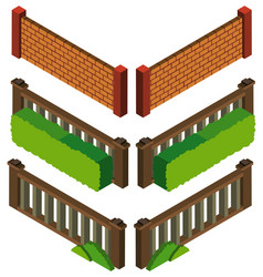 3d design for different styles fo wall and fence vector image