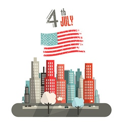 4 th July Title with American Flag and Abstract vector image
