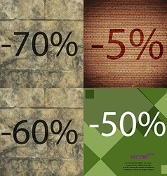 5 60 50 icon set of percent discount on abstract vector
