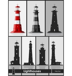 Lighthouses set of huge lighthouses vector
