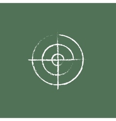 Shooting target icon drawn in chalk vector