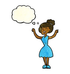 Cartoon woman with raised arms with thought bubble vector