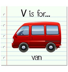 Flashcard letter v is for van vector