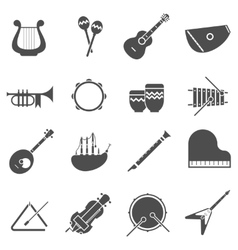 Musical instruments black white icons set vector