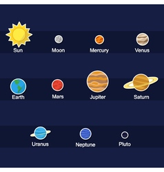 color icon set with Planets vector image