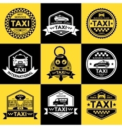 Taxi retro style labels vector
