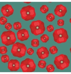 Seamless pattern with red poppies on color vector