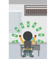 Successful businessman under money rain vector