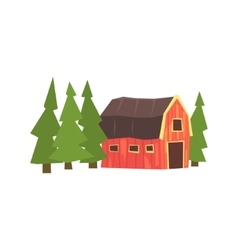 Barn and fir trees colorful farm sticker vector
