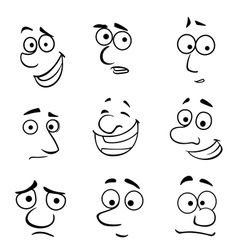 Cartoon faces with emotions vector image vector image