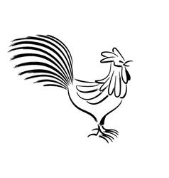 Chicken chinese brush drawing vector