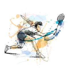 Colored hand sketch man playing badminton vector