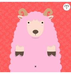 cute big fat aries zodiac cartoon vector image vector image
