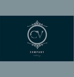 Cv c v blue decorative monogram alphabet letter vector