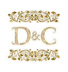 D and c vintage initials logo symbol the letters vector