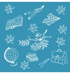 Doodle back to school on blue background vector image vector image