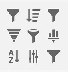 filter icon set vector image vector image