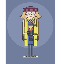 Flat design line drawn girl in glasses and yellow vector