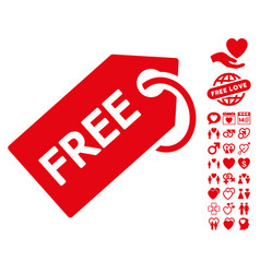 Free tag icon with dating bonus vector