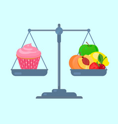 fruits and cupcake on scales vector image vector image