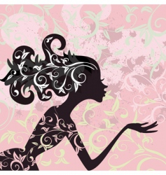 Glamour girl hair ornament vector