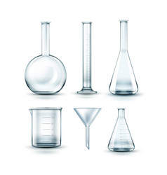 Glass laboratory flasks vector