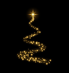 Gold christmas tree happy new year background vector
