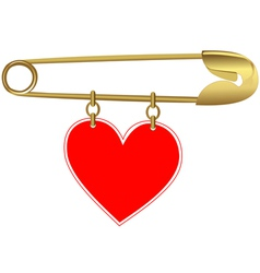 Golden Pin with a Heart vector image vector image