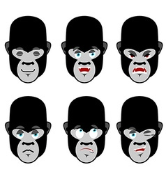 Gorilla emotions set expressions avatar monkey vector