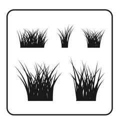 Grass bushes set black lawn vector image