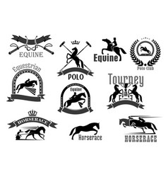 horse racing or equine polo club icons set vector image vector image