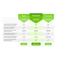 Light pricing table with 3 options and one vector image vector image