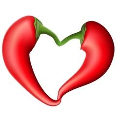 Red chili pepper heart eps 10 vector