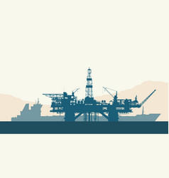 Sea oil drilling rig and tanker vector