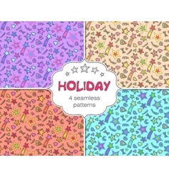 Set of four celebration holiday seamless patterns vector image vector image