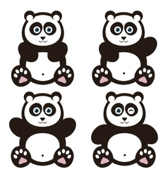 set of panda bears vector image vector image