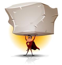 superhero holding heavy big boulder vector image vector image