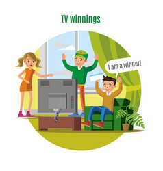 Tv lottery win concept vector