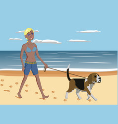 Young woman and dog walking on the beach vector