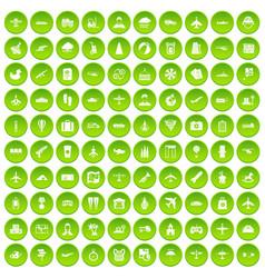 100 plane icons set green circle vector