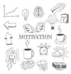 Hand drawn set of motivation vector image