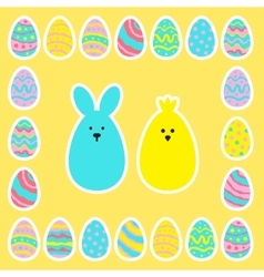 easter eggs icon set in flat style vector image