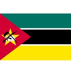 Flag of mozambique in correct size colors vector
