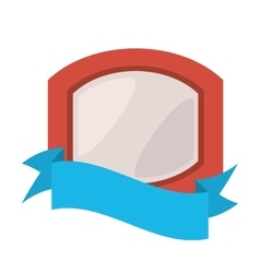 Red shield with white background and blue ribbon vector