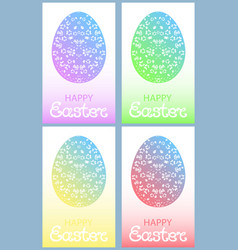 set of colored easter eggs with floral ornament vector image