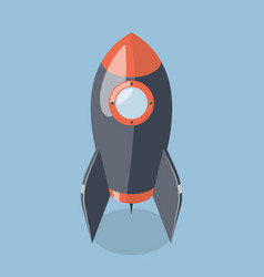 3d rocket spaceship isolated on blue background vector