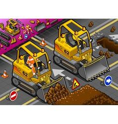 Isometric mini excavator in front view vector