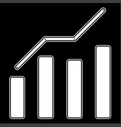 Growth chart the white color icon vector