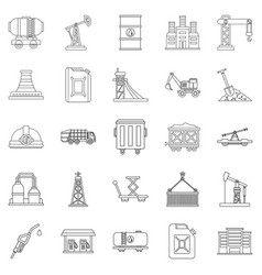production workers icons set outline style vector image