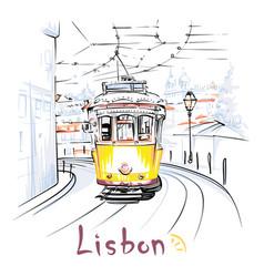 Yellow 28 tram in alfama lisbon portugal vector
